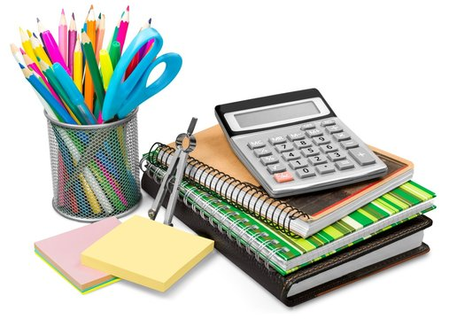 School and Office Supplies Isolated