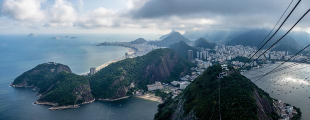 Sugarloaf mountain view of Rio de Janeiro dramatically overcast