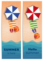 Summer banners set with sea or oceand. Sea, sun, beach and beach accessories. Summer is here. Hello summer. Vector illustration