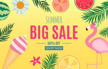 Abstract Summer Sale Background with Palm Leaves, Watermelon, Ice Cream and Flamingo. Vector Illustration