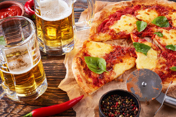 close-up of classic italian Pizza Margherita