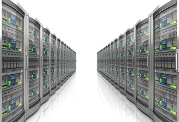 network workstation servers 3d illustration
