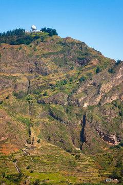 Radar station at the top of Cova Crater extinct volcano. Santo Antao Cape Verde
