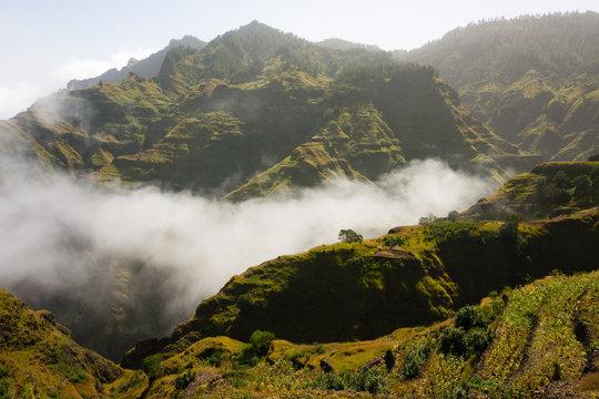 Santo Antao. Cape Verde, Montains in clouds landscape