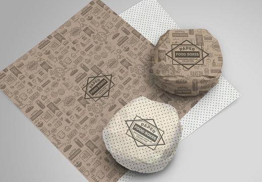 Burger Paper Wrapper Packaging Mockup
