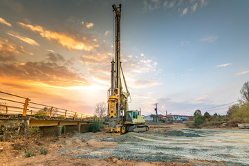 Machine for boring earth for the construction of pillars of a bridge in the province of Zamora in Spain