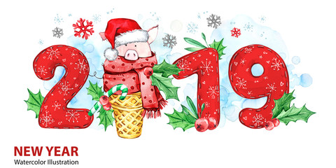 2019 Happy New Year banner. Cute pig with Santa hat in waffle cone and numbers. Greeting watercolor illustration. Symbol of winter holidays. Zodiac sign. Perfect for calendar and celebration card.