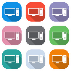 Personal computer, pc. System unit and monitor. Set of white icons on colored squares for applications. Seamless and pattern for poster