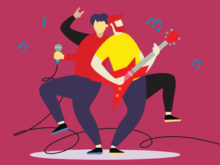 Concert of musical band with guitarist and vocal. Vector illustration