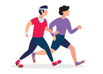 Two Running men. Cartoon jogging buddy. Vector illustration