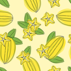Hand draw seamless pettern with star fruit carambola on yellow background. Vector illustration of tropical plant.