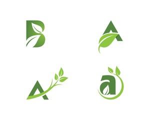 Letter logo with green leaf