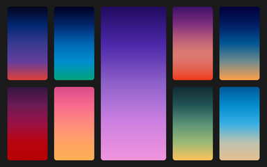 Color sky background on dark. Sunset and sunrise gradients set. Soft colorful backdrop for mobile app. Trendy abstract design. Vector illustration