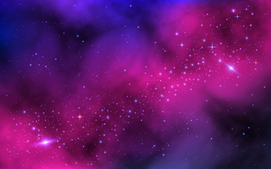 Space background. Bright milky way with nebula and stars. Color galaxy with stardust. Abstract futuristic backdrop. Vector illustration