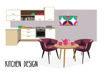 kitchen dining room  illustration. Interior design home scene.modern house, chair, table, oven, lamp, plant.coffee cup. Danish mid century.cute  and happy.