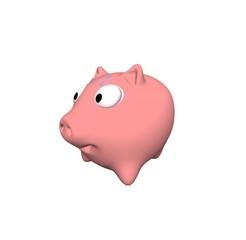 Piggy Bank 3D illustration isolate on white background.