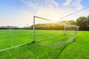 Green football field under blue sky background