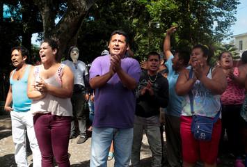 Local residents shout slogans in support of Nicaragua's President Daniel Ortega in Diriamba