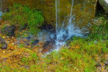 Long exposure flowing water