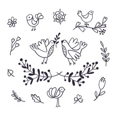 Set of lovely doodle icons. Hand-drawn birds, leaves and flowers. Wedding decor vector clipart.