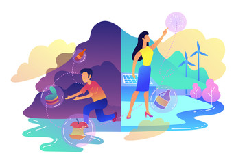 People sorting garbage trying to reach zero waste. Technology of ecological waste free journey focusing on landfill trash. Renewable resource concept, violet palette. Vector illustration on background
