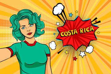 Aquamarine colored hair girl taking selfie photo in front of speech explosion Costa Rico name in bubble pop art style. Element of sport fan illustration for mobile and web apps