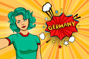 Aquamarine colored hair girl taking selfie photo in front of speech explosion Germany name in bubble pop art style. Element of sport fan illustration for mobile and web apps