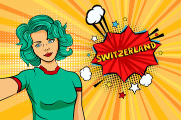Blue colored hair girl taking selfie photo in front of speech explosion Switzerland name in bubble pop art style. Element of sport fan illustration for mobile and web apps