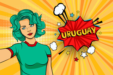 Blue colored hair girl taking selfie photo in front of speech explosion Uruguay name in bubble pop art style. Element of sport fan illustration for mobile and web apps