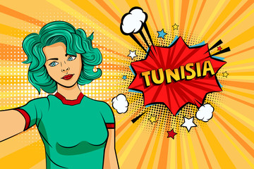 Blue colored hair girl taking selfie photo in front of speech explosion Tunisia name in bubble pop art style. Element of sport fan illustration for mobile and web apps