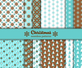 Vector illustration -  set of seamless Christmas patterns with traditional symbols