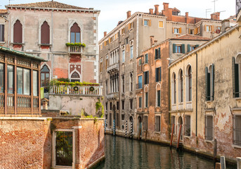 Residential neighborhood on back canal, Venice
