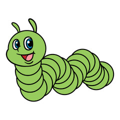 Cartoon Green Caterpillar