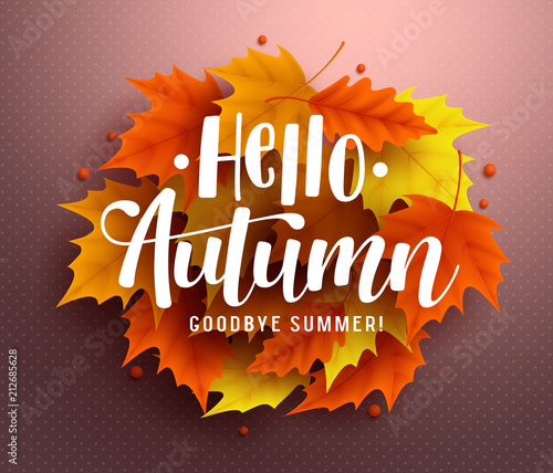 Hello autumn vector background design with autumn typography and hello autumn vector background design with autumn typography and maple leaves in textured background for fall m4hsunfo