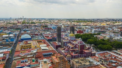 Beautiful aerial view of the city of Puebla Mexico