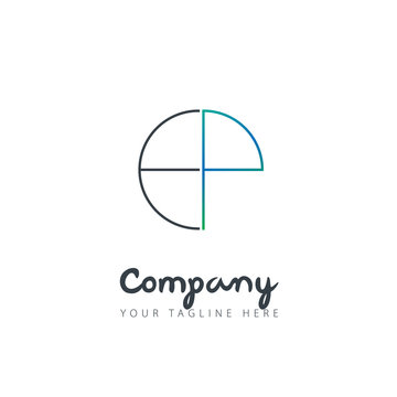 Initial Letter EP Circle Design Logo