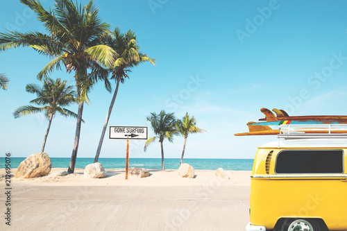 """Retro Beach Wallpaper 500 489: """"Vintage Car With Surfboard On Roof On Tropical Beach In"""