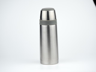 Stainless steel bottle thermos travel on white background