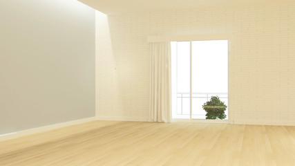 Interior 3D rendering empty room space