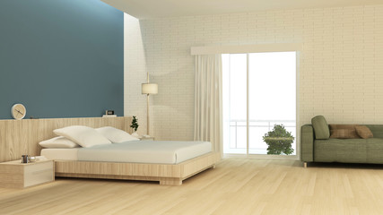 Bedroom interior space furniture 3d rendering and background wall decoration - minimal style