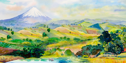 Tourists boating on the lake Mount Fuji in Japan.