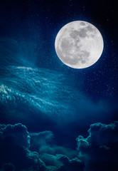 Landscape of night sky and bright full moon with many stars.
