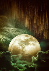 Wall Mural - Landscape of sky with supermoon, many stars and meteor shower.