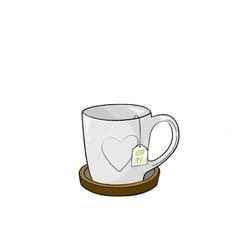 Taza de té gris con posavasos