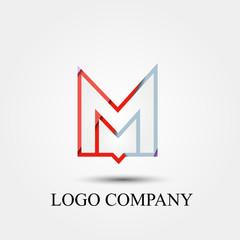 Abstract M letter logo vector logo, symbol, icon for logo company