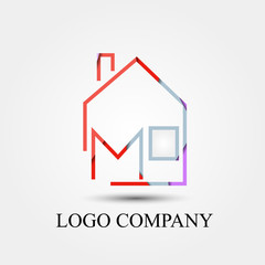 home company with M letter vector logo, symbol, icon for logo company