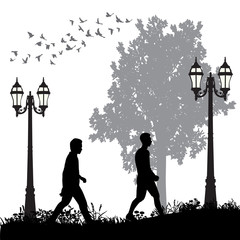 isolated, silhouette people walking in the park