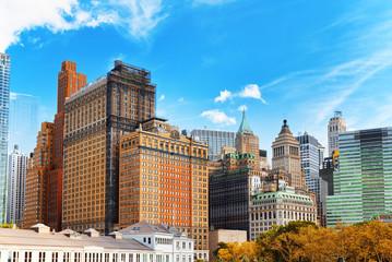 Urban cityscape of New York. Lower Manhattan district.