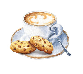 Hand drawn watercolor coffee with cookies, cappuccino cup with saucer, isolated on white background. Delicious food illustration.