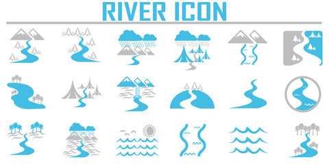 River  and Landscape icons. Wall mural